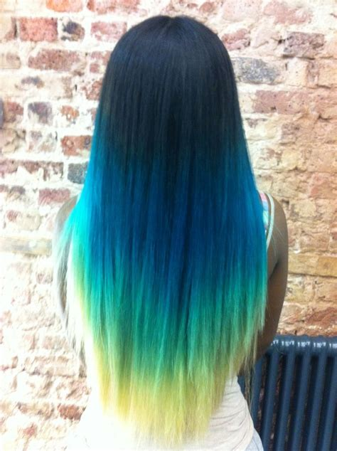 Blue Neon Green Ombre Pastel Hair Colored Hair