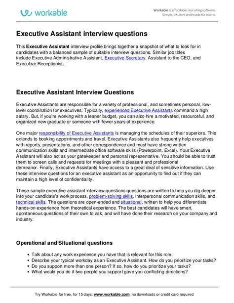 Assistant Questions by Executive Assistant Questions