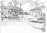 Coloring Landscape River Pages Adults Detailed Sheets Books Colouring Sketch Sketches Template Adult Landscapes Scenery Printable Rivers Nature Landscaping Sketchite sketch template