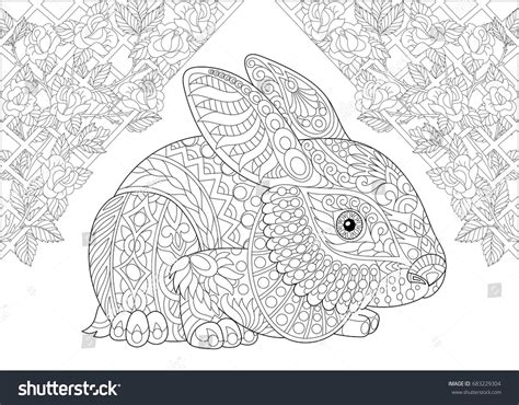 Coloring Page Rabbit Wonderland Rose Flowers Stock Vector