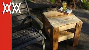 DIY rustic side table made from free pallets - YouTube