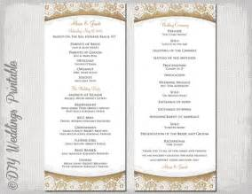 make your own wedding program rustic wedding program template quot burlap lace quot diy ecru