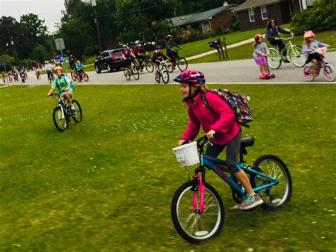 school bike students pedal their way to class for bike to school day