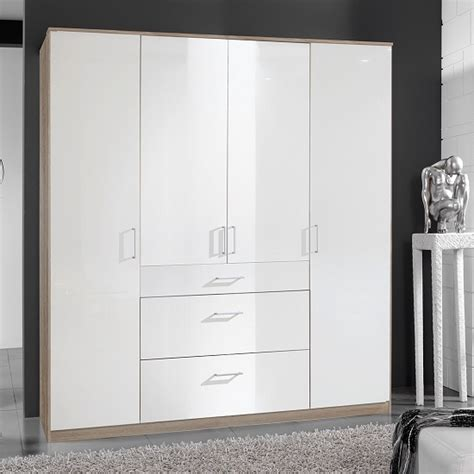 26370 used bedroom furniture 093805 alton in high gloss white and oak with 4 door 3