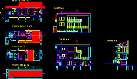 storeys house  flat roof  dwg full project
