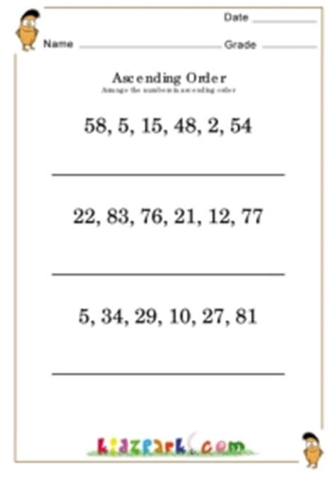 ascending order worksheets teachers activities for