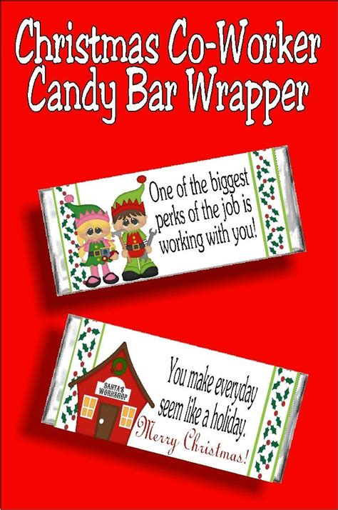 christmas  worker candy bar wrapper printable