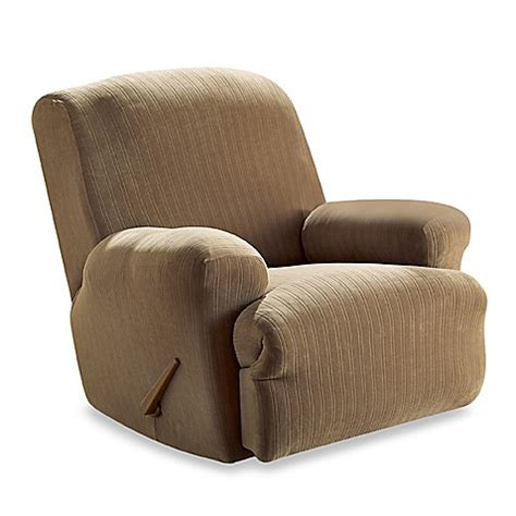 covers bed bath and beyond stretch pinstripe taupe recliner slipcover by sure fit