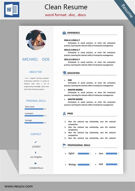 Free Easy Resume Template Word by Simple Clean Resume Template Word Format