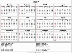 2017 Calendar Canada yearly printable calendar