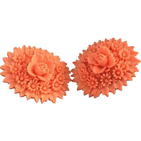 coral colored l bright coral colored high relief deeply carved celluloid