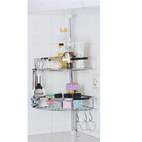 Étagère de cuisine télescopique Inox 2 paniers 6 crochets
