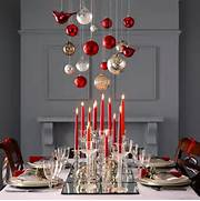 Remarkable Decorating Party Design Dining Table Decoration Ideas Glass Ornaments In Silver And Red Hang Above This Christmas Table With