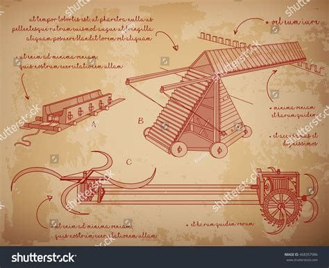 siege vinci leonardo da vinci sketches siege machine stock vector