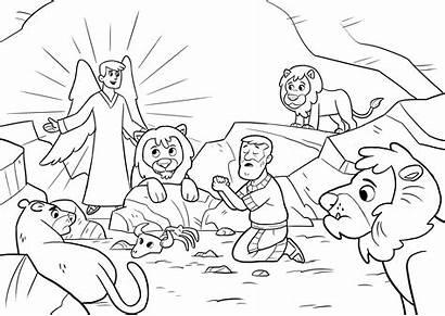 Lions Daniel Coloring Lion Den Printable Bible