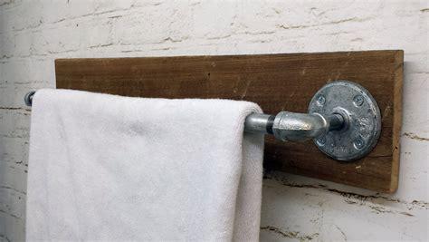 towel bar rack holder rustic barn wood industrial pipe
