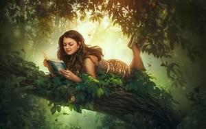 1440x900 Reading, Book, Fantasy Tree, Fantasy, Girl, Girl ...