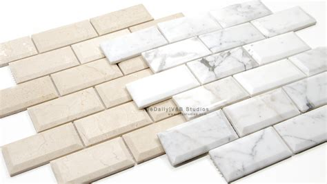 marble brick tiles beveled marble brick mosaic 2 colors tiledaily