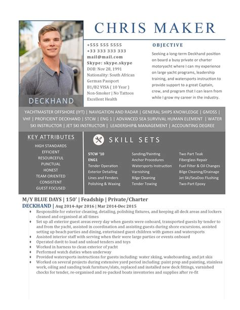 Yacht Deckhand Resume by Yacht Resume