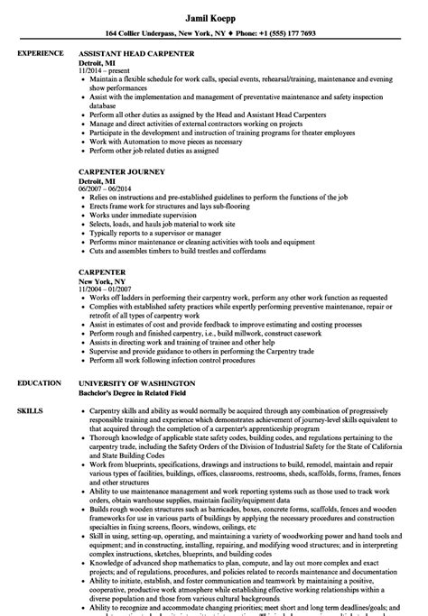 Construction Resume Exles by Union Carpenter Foreman Resume Collections Photos Carpenter