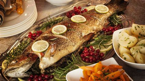 Roast ocean trout with cucumber and preserved lemon. Expert tips for picking the best seafood for Christmas ...