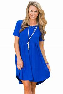 Cheap Blue Short Sleeve Pullover Babydoll Style Casual Dress