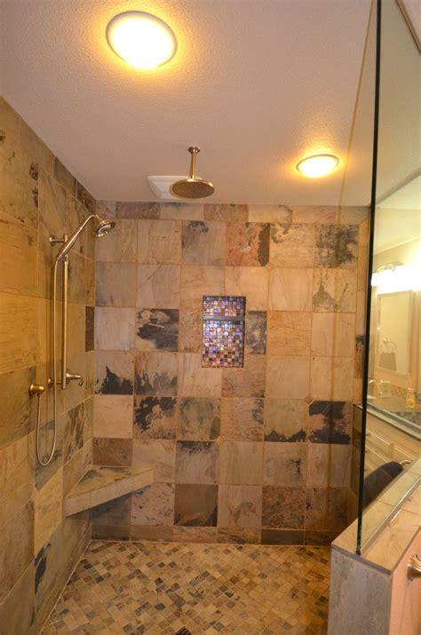 walk  shower  rain head doorless shower design