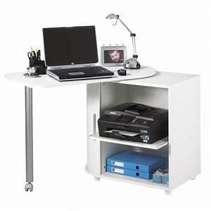 Bureau Pas Cher Blanc : bureau informatique blanc pivotant beaux meubles pas chers ~ Teatrodelosmanantiales.com Idées de Décoration