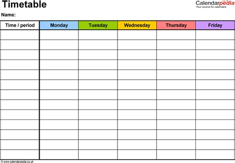 Landscape Format Pdf Timetable Template 2 Landscape Format A4 1 Page