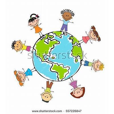 Globe Kids International Friendship Day Earth Stock Vector
