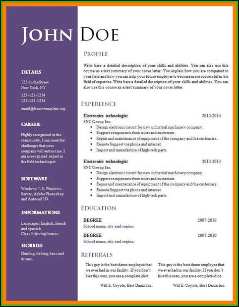 resume  ms word format   resume resume