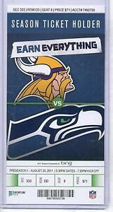 minnesota vikings seattle seahawks    full unused nfl