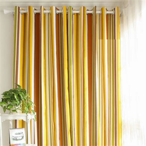 beautiful yellow cotton striped curtains for