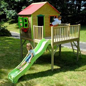 Portique Bois Pas Cher : balancoire bois avec toboggan et cabane les cabanes de ~ Premium-room.com Idées de Décoration