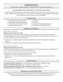 electrical engineer resume template microsoft word exle maintenance electrician resume sle