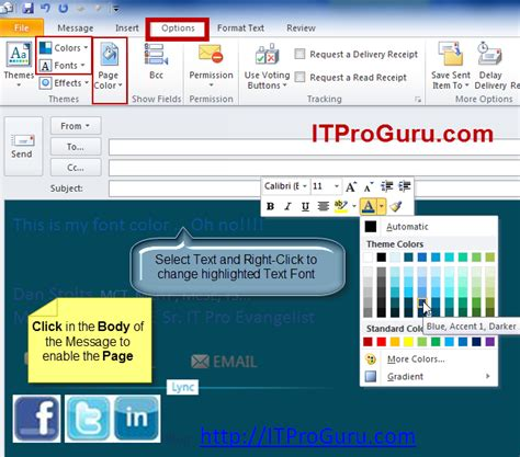 change outlook color outlook email message change background color font and