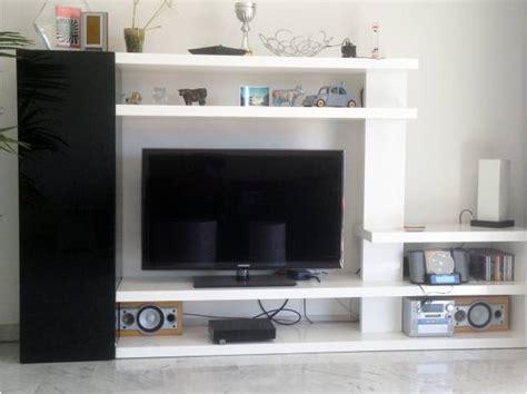 meuble sejour tv laque noir et blanc reverso