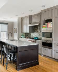 Transitional Kitchens with Gray Cabinets