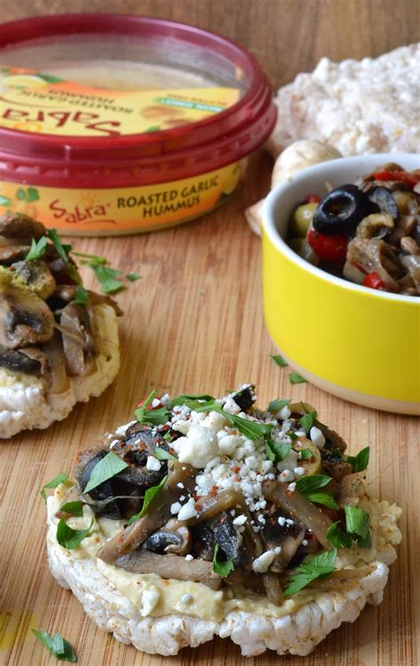 grilled mushroom  hummus topped brown rice cakes
