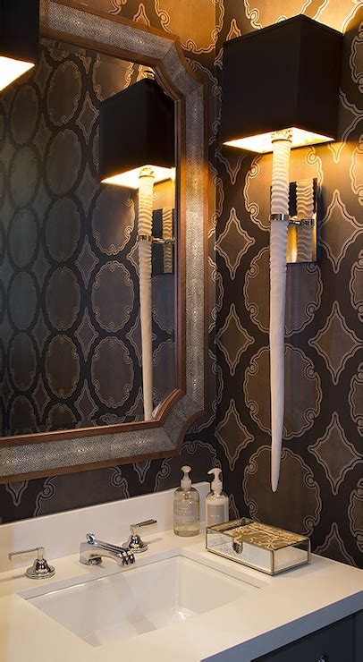 powder room wallpaper contemporary bathroom artistic