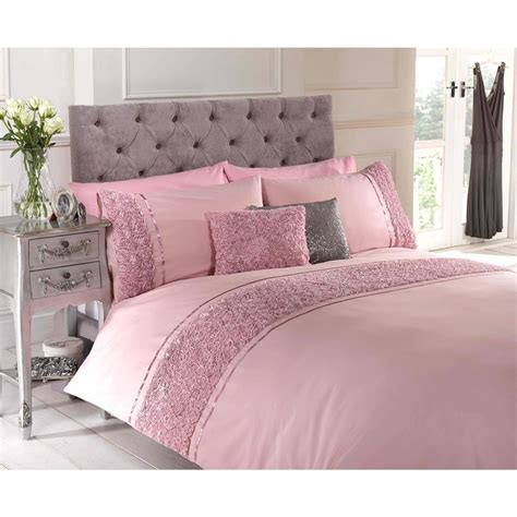 Belle Maison Limoges Rose Ruffle Duvet Cover Set, Pink