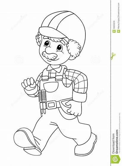 Construction Coloring Worker Pages Children Workers Illustration