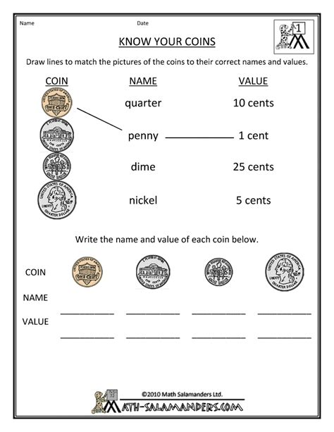 money printable worksheets your coins us gif 790