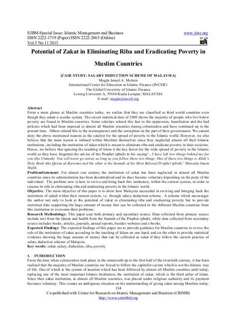 Potential of zakat in eliminating riba and eradicating