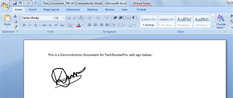 electronic signature  word   insert digital