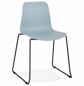 Chaise Pied Metal Noir : chaise moderne expo bleue avec pieds en m tal noir ~ Teatrodelosmanantiales.com Idées de Décoration