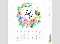 Watercolor Calendar Template For July 2017 Year Stock