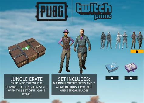 pubg jungle crate twitch prime loot  items