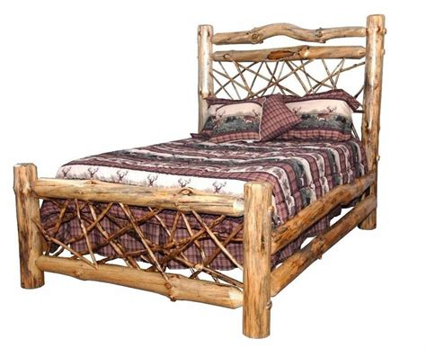 rustic pine log queen size twig style complete bed frame amish   usa ebay