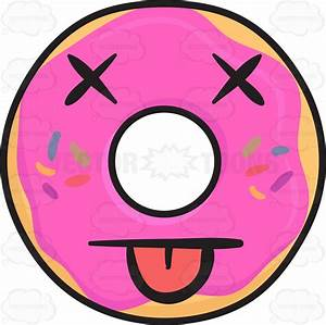 Knocked Out Donut Emoji Cartoon Clipart - Vector Toons